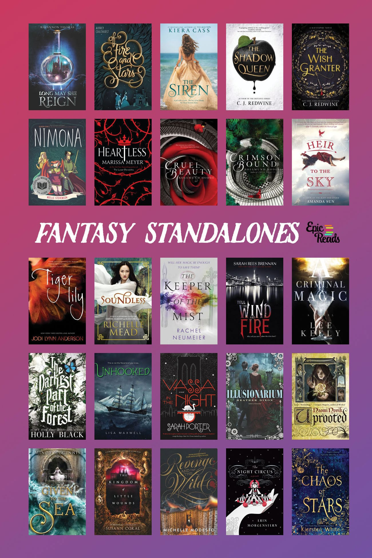 A reading list of YA fantasy standalones by Epic Reads
